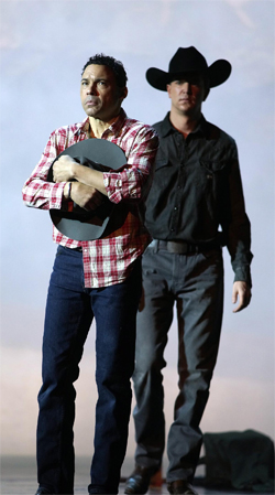 Tom Randle and Daniel Okulitch as Jack Twist and Ennis Del Mar in
